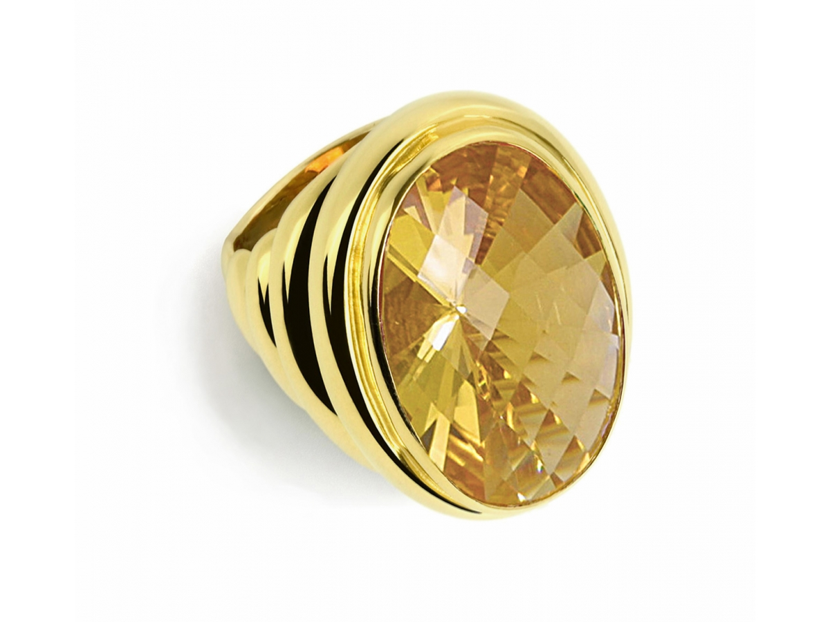 Ring 22 Karat Gelbgold 36 g, Citrin 24,76 ct