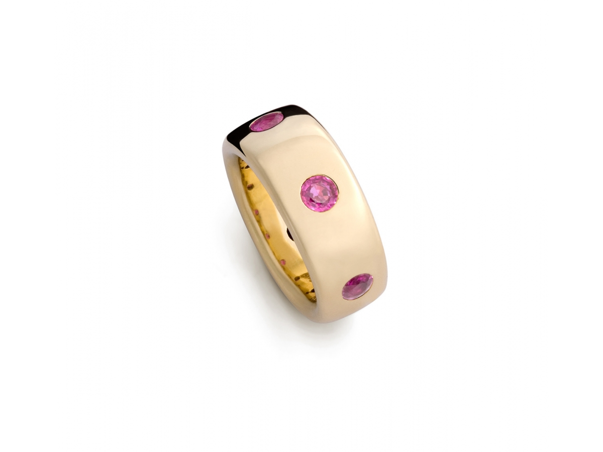 Ring 18 Karat Roségold 21,7 g,  6 pinken Brillanten 1,01ct |
