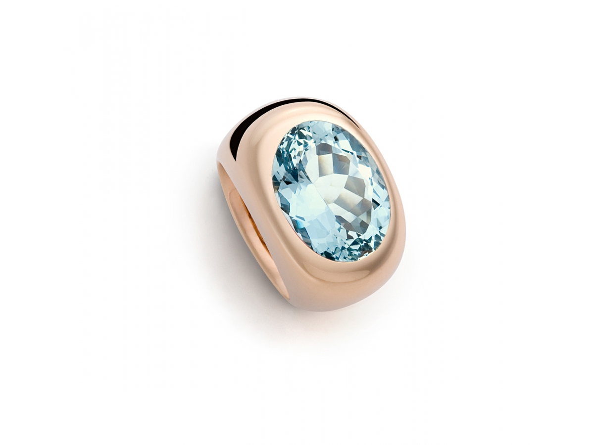 Ring 18 Karat Roségold 26,6 g, 1 Aquamarin 8,28 ct