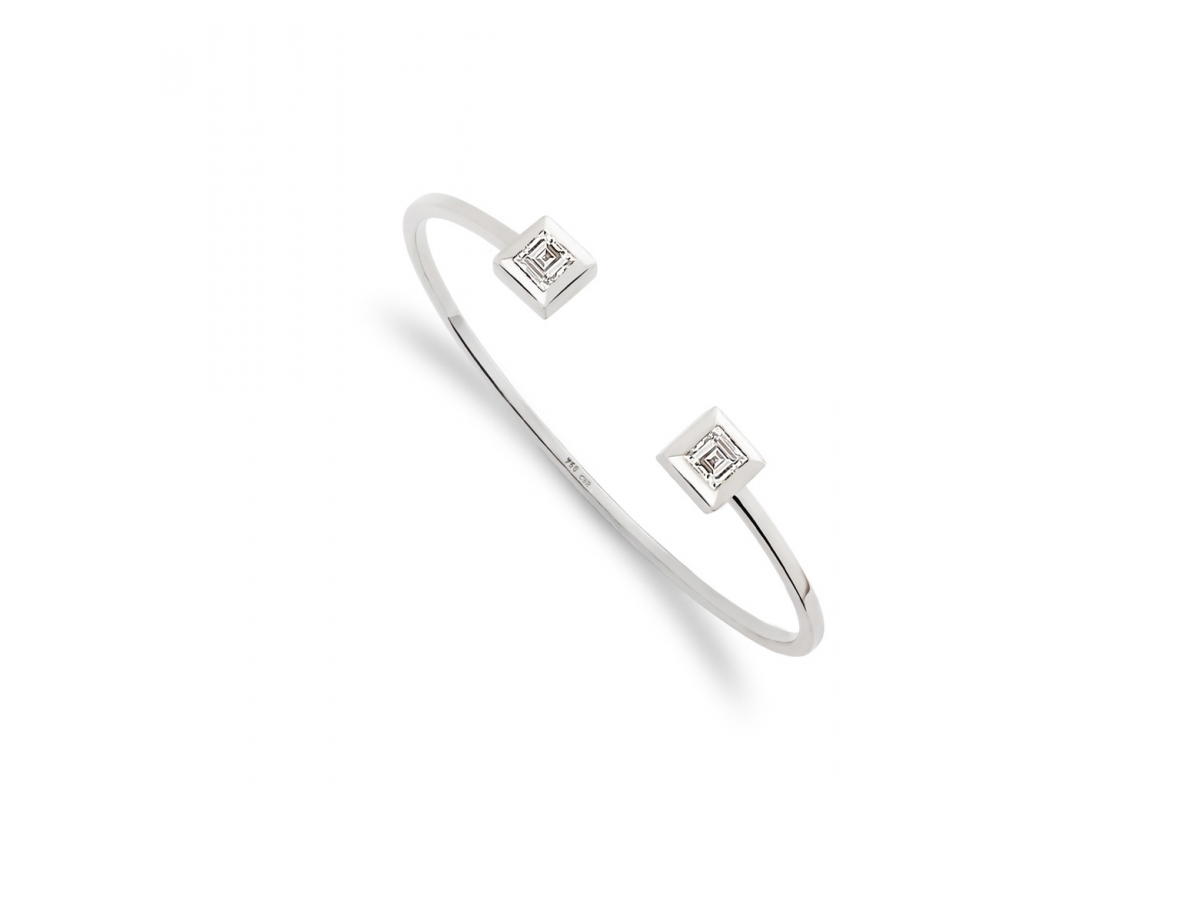 Armreif 18 Karat weißgold 13,5 g, 2 Diamant carrée1,17 ct TW/VS  4,5 x 4,5 mm