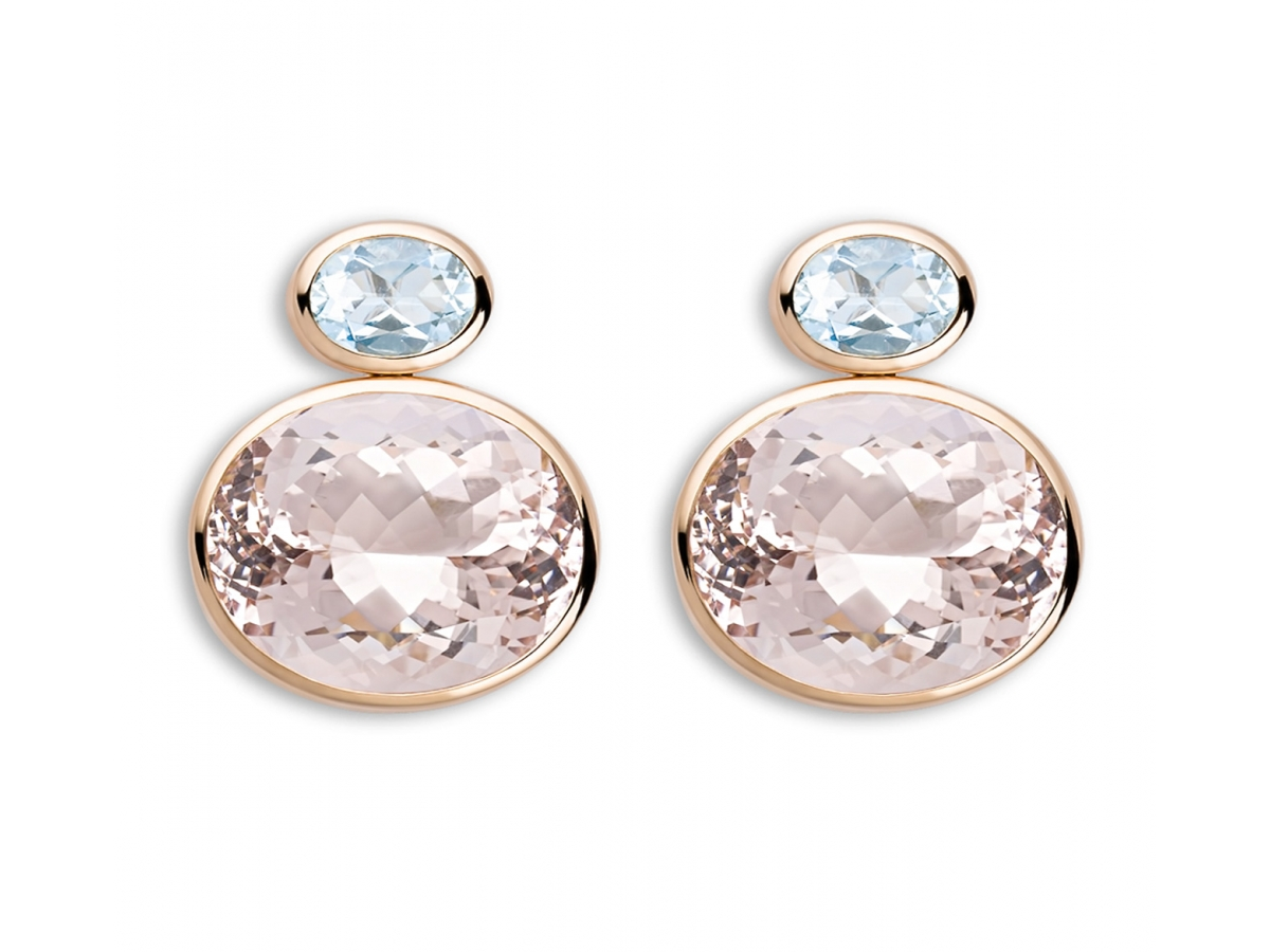 Ohrstecker 18 Karat Roségold 9,8 g, Morganite 33,12 ct, Aquamarine 2,16 ct