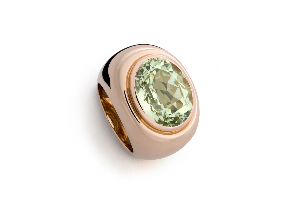 Ring 18 Karat Roségold 28,1 g, 1 Heliodor 13,26 ct  17,5 x 14,2 mm